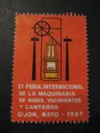 GIJON ASTURIAS 1967 Minas Yacimientos Canteras Geologia Geology Geologie Mine Poster Stamp Label Vignette Viñeta - Spanien