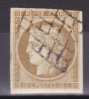 France Lot Z2, YT 1 Bistre Jaune, Ob Grille, Signé Calves - 1849-1850 Cérès