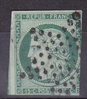 France Lot Z4, YT 2b, 15c Vert Foncé, Ob étoile Noire, 3 Marges + 1 Voisin - 1849-1850 Cérès
