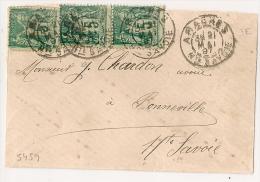 ARACHES, Haute Savoie Sur Devant Au Type SAGE. Trois 5c Verts. - 1877-1920: Periodo Semi Moderno