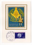 1973--Carte Maximum-Soie--200° Anniv GRAND ORIENT De FRANCE-signée Chesnot--cachet PARIS--75 - Cartes-Maximum