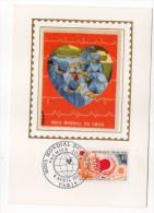 1972--Carte Maximum-Soie--Mois Mondial Du Coeur-signée Chesnot-cachet PARIS--75 - Cartes-Maximum