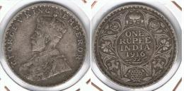 INDIA RUPIA RUPEE JORGE V 1916 PLATA SILVER G1 - India