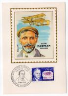 1971--Carte Maximum-Soie-H.FARMAN--aviation----signée Chesnot-cachet  LE BOURGET--93 - Cartes-Maximum