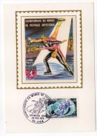 1971--Carte Maximum-Soie-LYON (blason)-Championnat Du Monde Patinage Artistique---signée Chesnot-cachet  LYON--69 - Cartes-Maximum