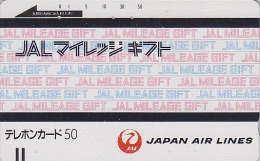 Télécarte Ancienne Japon / 110-13213 - AVIATION - JAL Mileage - JAPAN AIRLINES Front Bar Phonecard  Balken TK  Avion 873 - Avions