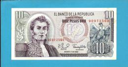 COLOMBIA - 10 Pesos Oro - 07.08.1980  - Pick 407.g - AUNC. - General Antonio Nariño & Condor - 2 Scans - Colombia