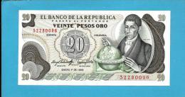 COLOMBIA - 20 Pesos Oro - 01.01.1983 - Pick 409.d - UNC. - Francisco José De CALDAS - 2 Scans - Colombia