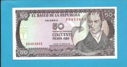 COLOMBIA - 50 Pesos Oro - 01.01.1985  - Pick 425.a - UNC. - Camilo Torres - 2 Scans - Colombia
