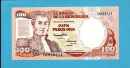 COLOMBIA - 100 Pesos Oro - 01.01.1991 - Pick 426.e - UNC. - General Antonio Nariño - 2 Scans - Colombie