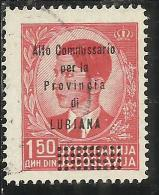 LUBIANA 1941 ALTO COMMISSARIATO 1,50 D USATO USED OBLITERE´ - 9. Ocupación 2ª  Guerra (Italia)