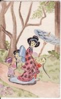 Carte Postale Fantaisie ASIE PEINTE A LA MAIN - DESSIN DESSINEE- AQUARELLE - Femme Avec Ombrelle VOIE 2 SCANS - - Cartes Postales