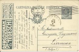 ITALIA ENTERO POSTAL 1920 PUBLICIDAD NEUMATICOS AUTOMOVIL - Autos