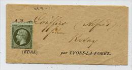 N° 19 FRANCE Sur Bande De Journaux (sans Oblitération) Pour Alfred Coiffier Fileur à Rosay Par Lyons La Forêt - Eure - - 1862 Napoléon III
