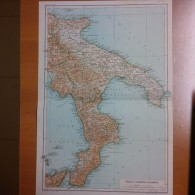 Puglia Calabria - Mappa Cartina Originale D´epoca - Mappe