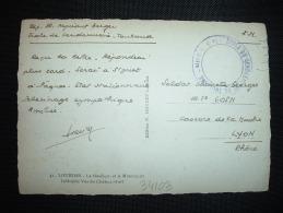 CP EN FM + CACHET VIOLET ECOLE DE GENDARMERIE DE TOULOUSE. Le Vaguemestre - Marcophilie (Lettres)