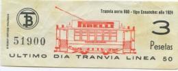 BILLETE DE TRANVIA DE BARCELONA / SERIE PRIMER DIA - ULTIMO DIA  / 1970 (7) - Tramways