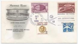 États-Unis USA 1958 FDC Expo 58 Neptune Vierge De La Mer Câble Télégraphe Atlantic Cable Centenary Simon Bolivar Avion - 1958 – Brussel (België)