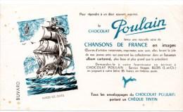 2 Buvards : Chocolats Poulain Chansons De France. Hardi Les Gars, Ma Petite Folie - Chocolat