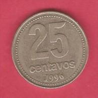 ARGENTINA  25 CENTAVOS 1996 (KM # 110a) - Argentina
