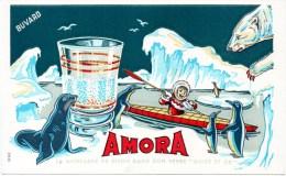 Buvard : Moutarde De Dijon, Amora. Illustration, Le Petit Esquimau En Kayak. Ours, Phoque, Manchots. - Moutardes