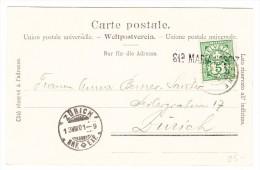 Schweiz Heimat Graubünden Balkenstempel STA MARIA HOSPIZ Auf AK Selbe Motiv Nach ZH - 1882-1906 Armoiries, Helvetia Debout & UPU