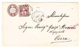 Schweiz Heimat Graubünden St. Bernhardin 14.11.1886 Auf Tüblibrief Mit Ziffer Zusatz Nach Coira - 1882-1906 Armoiries, Helvetia Debout & UPU