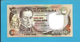 COLOMBIA - 2000 Pesos Oro - 17.02.1986 - Pick 433 - Simon Bolivar - 2 Scans - Colombie