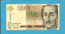 COLOMBIA - 2000 Pesos Oro - 09.04.1999  - Pick 445 - General Francisco De Paula Santander - 2 Scans - Colombia
