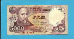 COLOMBIA - 5000 Pesos Oro - 01.01.1990  - Pick 436 - Rafael Nuñez - 2 Scans - Colombia