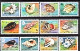 Aitutaki 1973 Marine Life Shells Set Of 12 To $1, MNH - Aitutaki