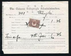 CHINA 1920 TELEGRAPH TELEGRAM TSINANFU SHANGHAI - Unclassified