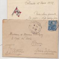 Poste Maritime Sur Tumbre Jeanne D'arc N°257 En1929  Avec Texte De Colombo - Poste Maritime