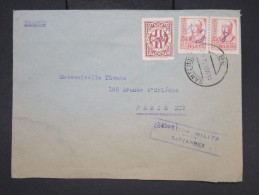 ESPAGNE- Enveloppe De Santander Pour Paris En 1938 Avec Censure Militaire - à Voir - Lot P7605 - Marcas De Censura Nacional