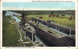 GENERAL VIEW OF GATUN LOCKS, PANAMA CANAL With BATTLESHIP - Panama