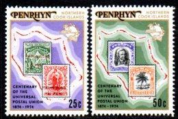 Penrhyn 1974 UPU Centenary Set Of 2, MNH - Penrhyn