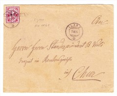 Schweiz Heimat Graubünden Balkenstempel VIGENS Brief 7.11.1895 Ilanz Nach Chur - 1882-1906 Armoiries, Helvetia Debout & UPU