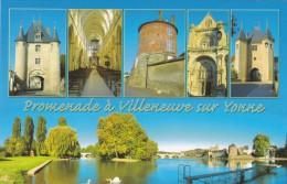 CPM - Villeneuve Sur Yonne  89 - Multi-vues , Ville Médiévale  Portes Fortifiées Eglise N.Dame , Et L'Yonne - Châteaux