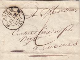 ARDECHE 1837 LAC. T12 JOYEUSE TAXE PLUME 2 POUR AUBENAS. /  ROUGE-II 6 - 1801-1848: Vorläufer XIX
