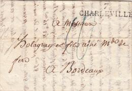ARDENNES 1824 LAC. MP 7/CHARLEVILLE. TAXE PLUME 10 POUR BORDEAUX /  ROUGE-II 7 - 1801-1848: Precursores XIX