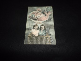 Carte  Fantaisie  Avec  Montgolfière. Fillettes 1er Avril. - Cartes Postales