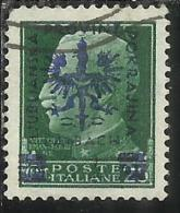 OCCUPAZIONE ITALIANA ITALY OVERPRINTED SOPRASTAMPATO ITALIA 1944 LUBIANA TEDESCA GERMAN OCCUPATION CENT. 25 USATO USED - Occup. Tedesca: Lubiana