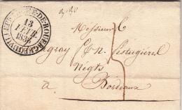 AVEYRON 1836 LAC. T13 VILLEFRANCHE DE ROUERGUE. TAXE PLUME 5 POUR BORDEAUX. /  ROUGE-II 11 - 1801-1848: Voorlopers XIX
