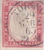 SI53D Italia Italy Italian States Sardinia Sardegna Sardinien 40 C.  Usato - Sardegna