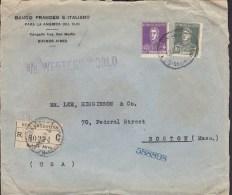"Argentina Registered Label BANCO FRANCÉS E ITALIANO, BUENOS AIRES 1920 Cover Letra BOSTON USA Via S/S ""Western World"" - Argentinien"