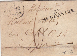 FRANCE 1830  LETTRE ÉCRITE DE MONPASIER DORDOGNE . MP 23 / MONPASIER TAXE PLUME 6 POUR LYON / 5555 - Postmark Collection (Covers)