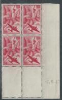 France P. A. N° 17 XX Iris En Bloc De 4 Coin Daté Du 6 . 6  . 47,  Sans Charnière, TB - Coins Datés