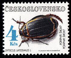 CZECHOSLOVAKIA - Scott #2866 Dytiscus Latissimus (*) / Mint NH Stamp - Unused Stamps