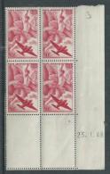 France P. A. N° 17 XX Iris En Bloc De 4 Coin Daté Du 23 . 1  . 48,  Sans Charnière, TB