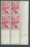 France P. A. N° 17 XX Iris En Bloc De 4 Coin Daté Du 1 . 4  . 48,  Sans Charnière, TB
